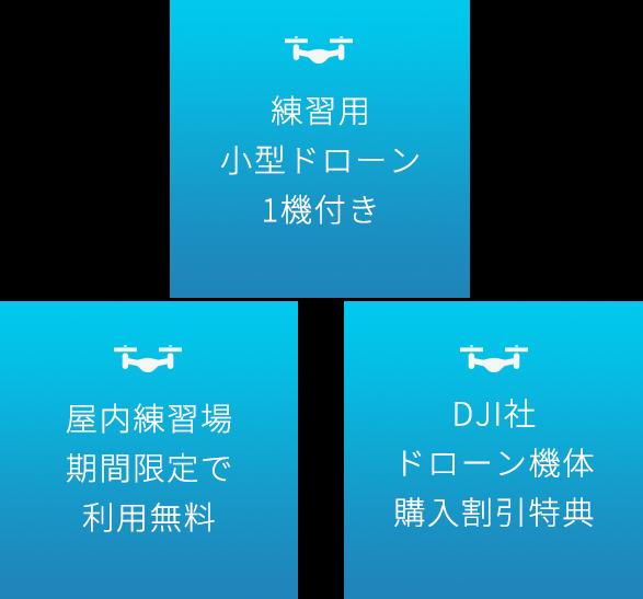 練習用小型ドローン1機付き・期間限定で屋内練習場利用無料・DJI社ドローン機体購入割引特典